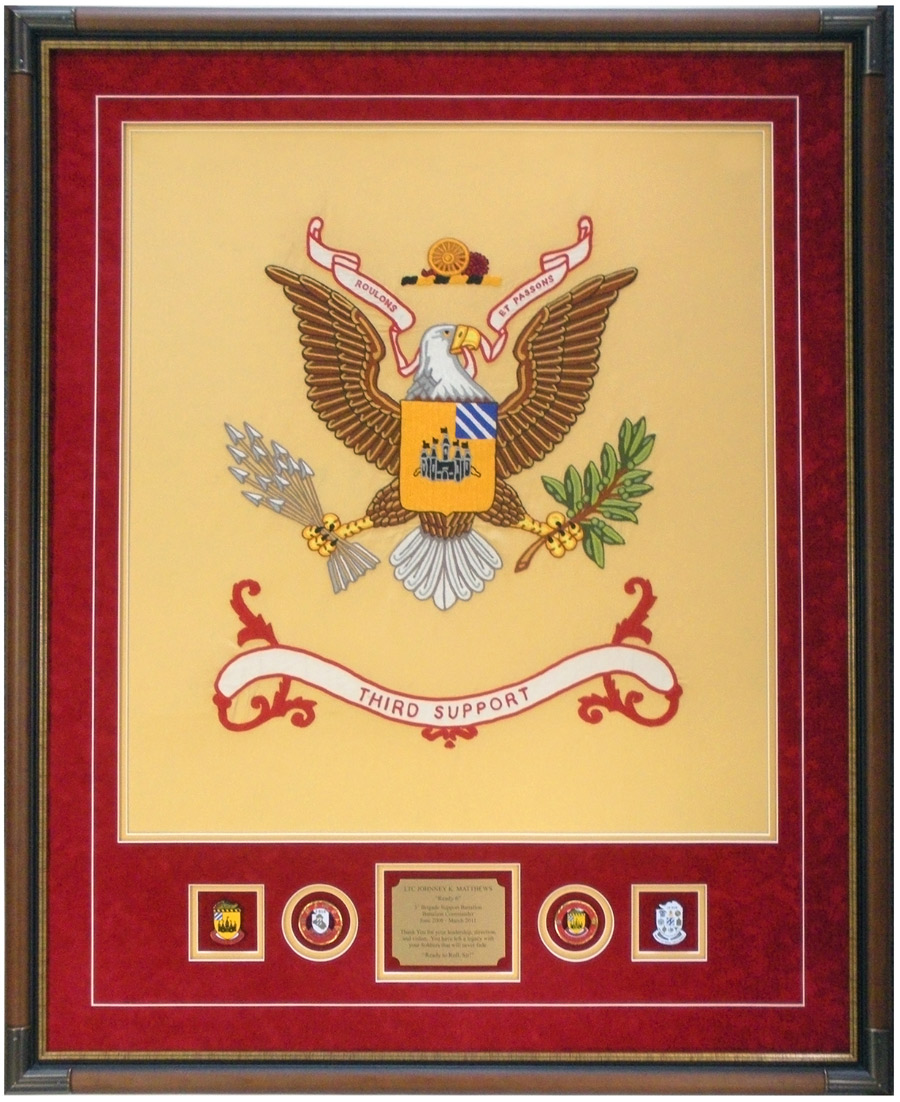 Battalion Colors Framed With Conins And Insignia