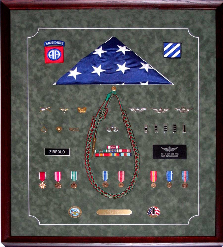 Military Shadow Box With Flag And Medals