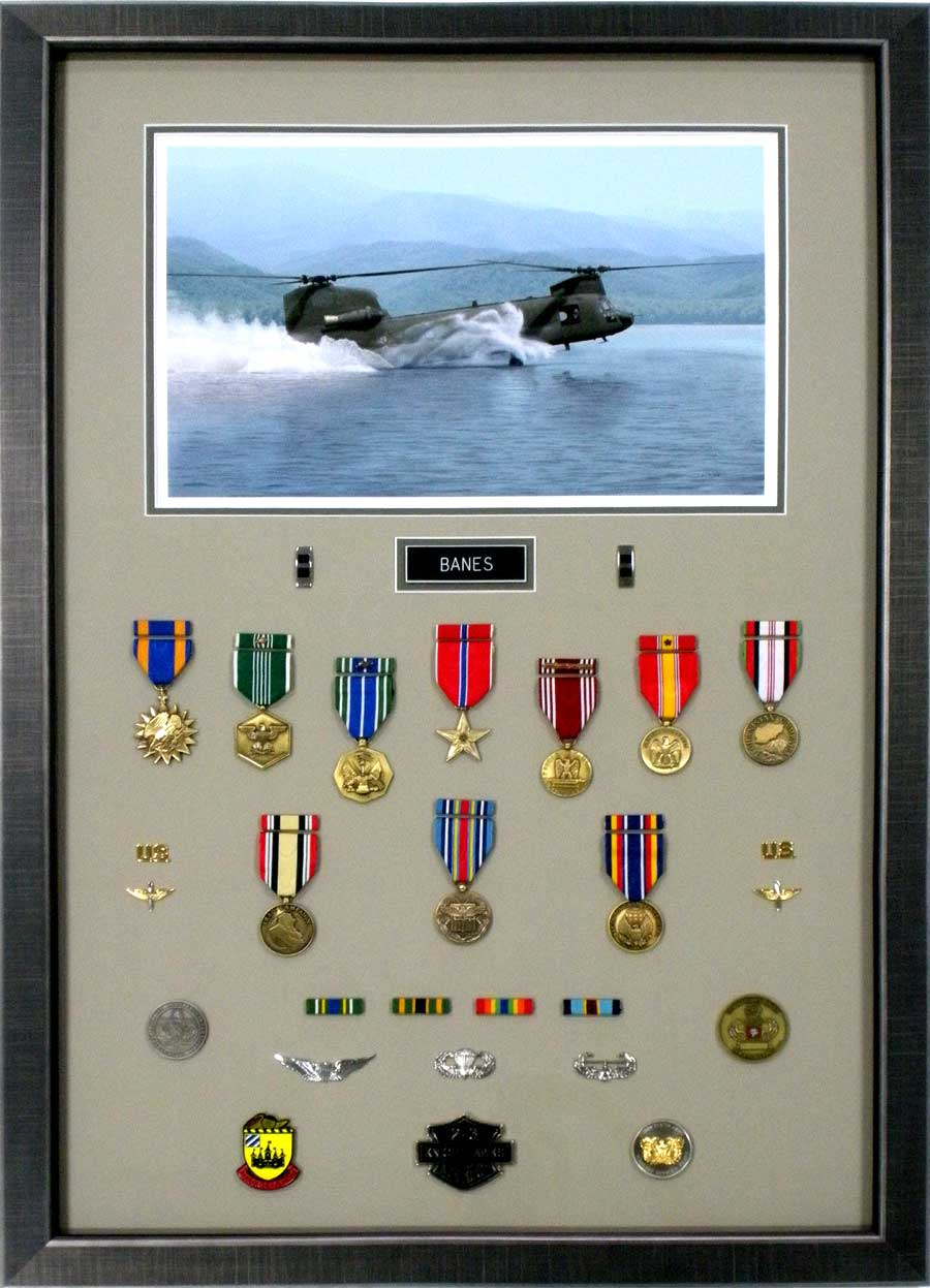 Military Shadowbox With Medals and Photograph