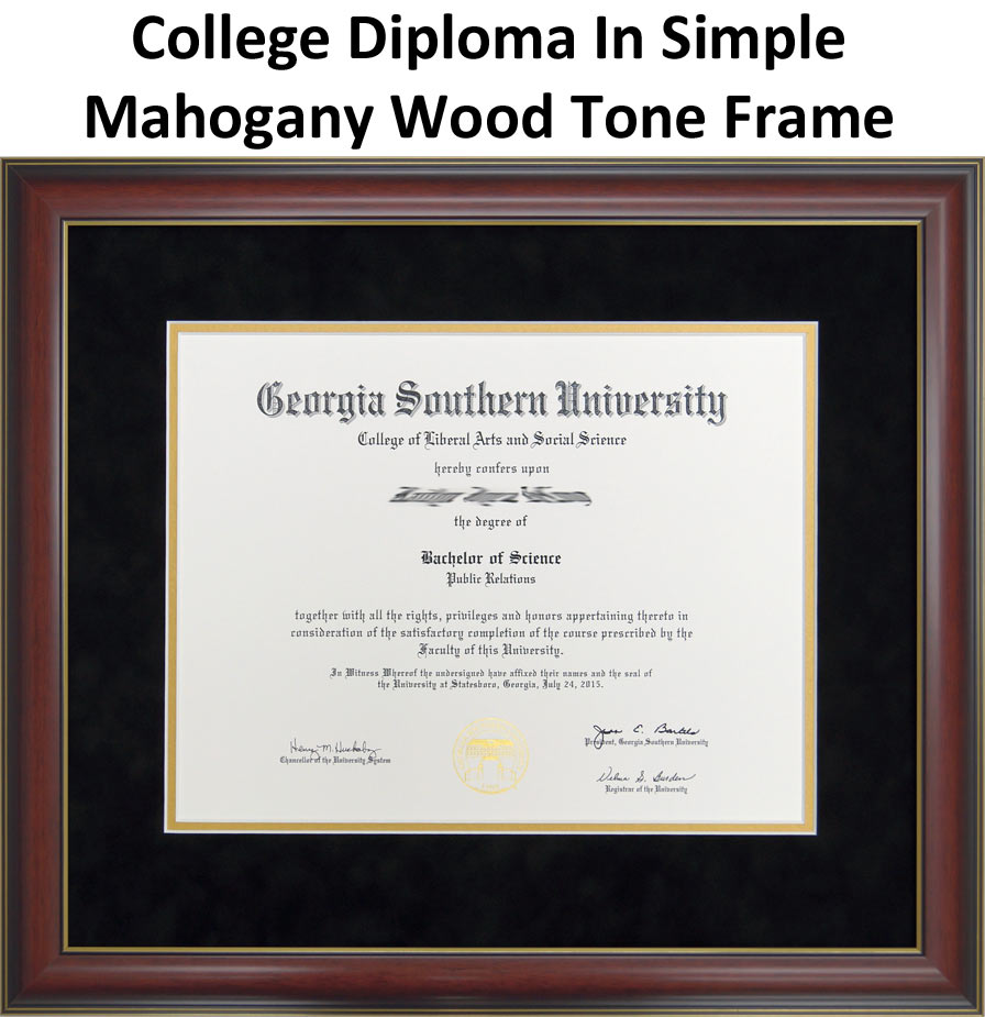 College Diploma In Simple Mahogany Wood Tone Frame