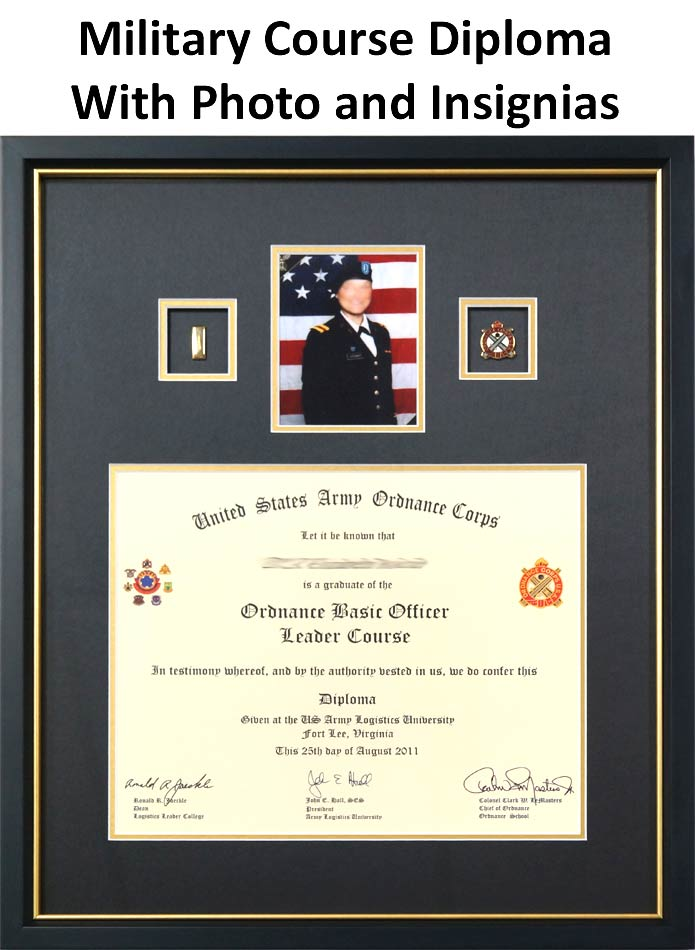Framed Military Course Diploma With Photo and Insignias