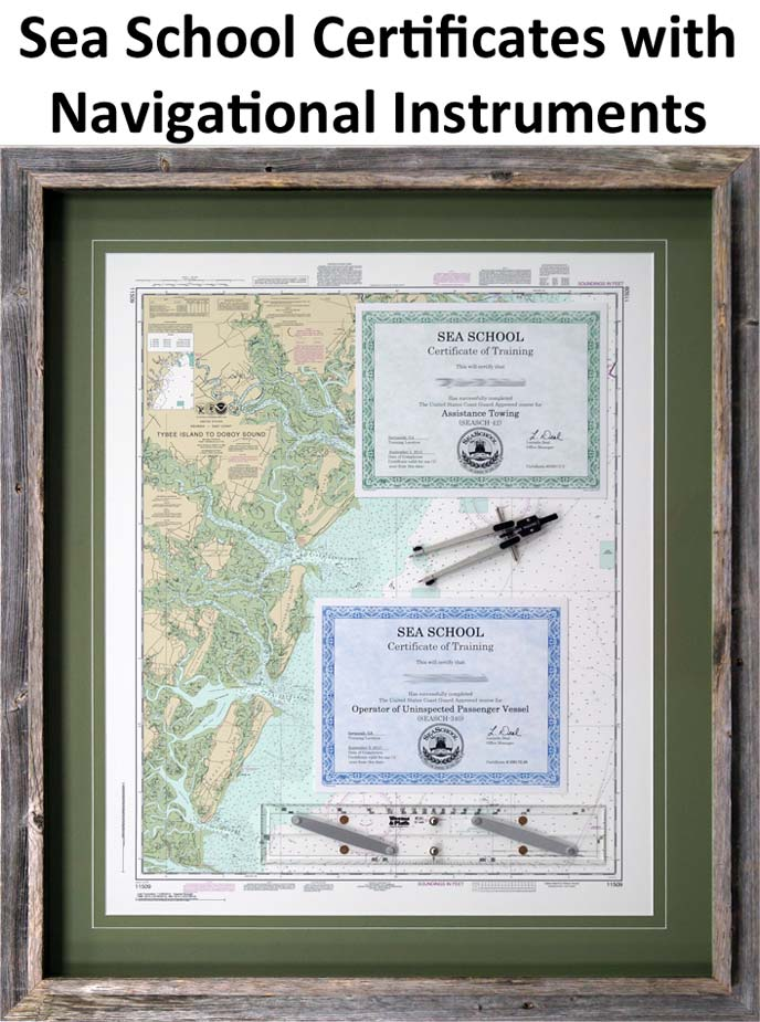 Sea School Certificates with Navigational Instruments