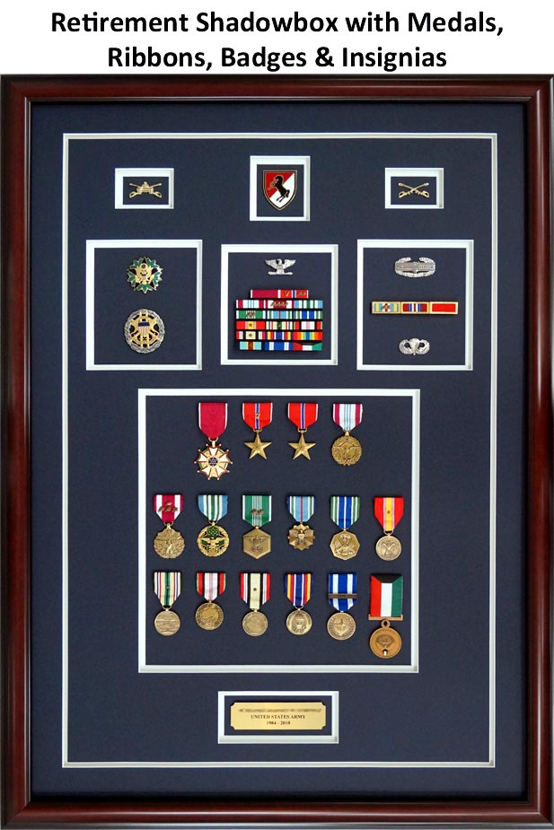 Framed Medals with Ribbons, Insignias, and Badges Retirement Shadowbox