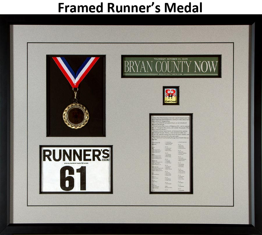 Framed Runner's Medal With Race Results Example