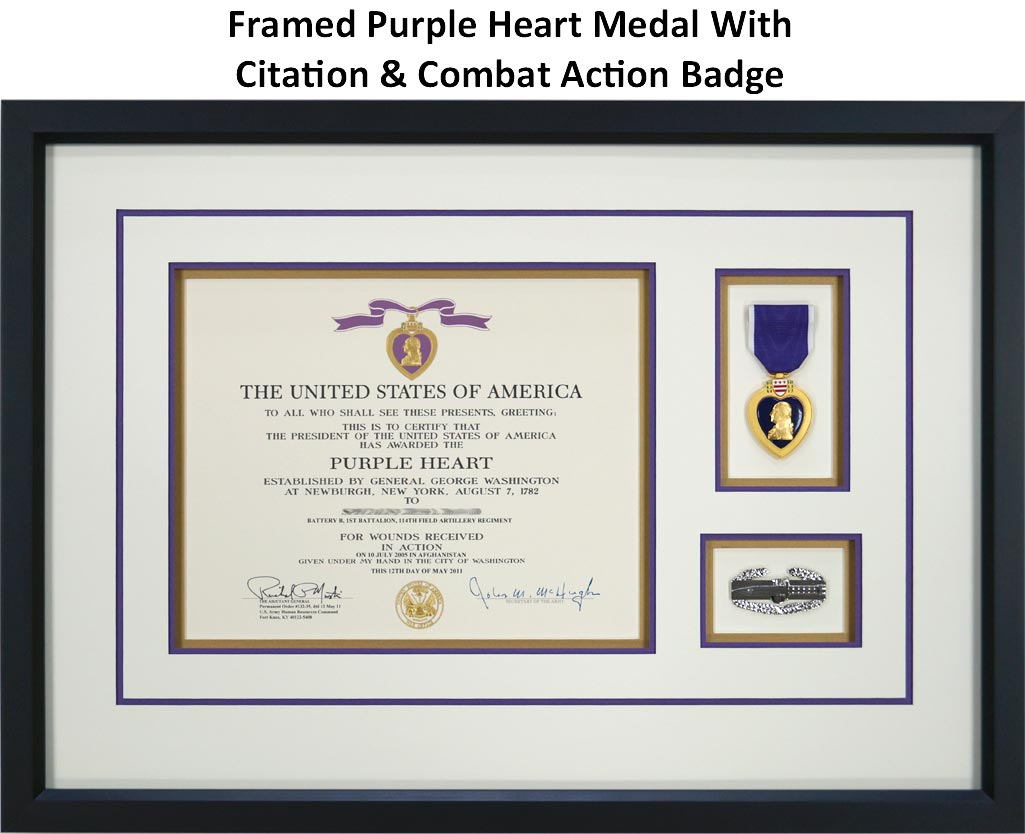 Framed Purple Heart Medal With Citation and Combat Action Badge