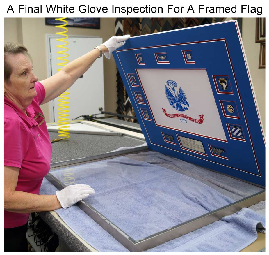 Cindy Performs A Final White Glove Inspection Before Completing The Frame