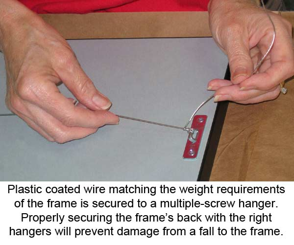 Attaching Hander To The Bak Of A Frame - Matching The Frame's Weight to The Right Size Wire and Hanger