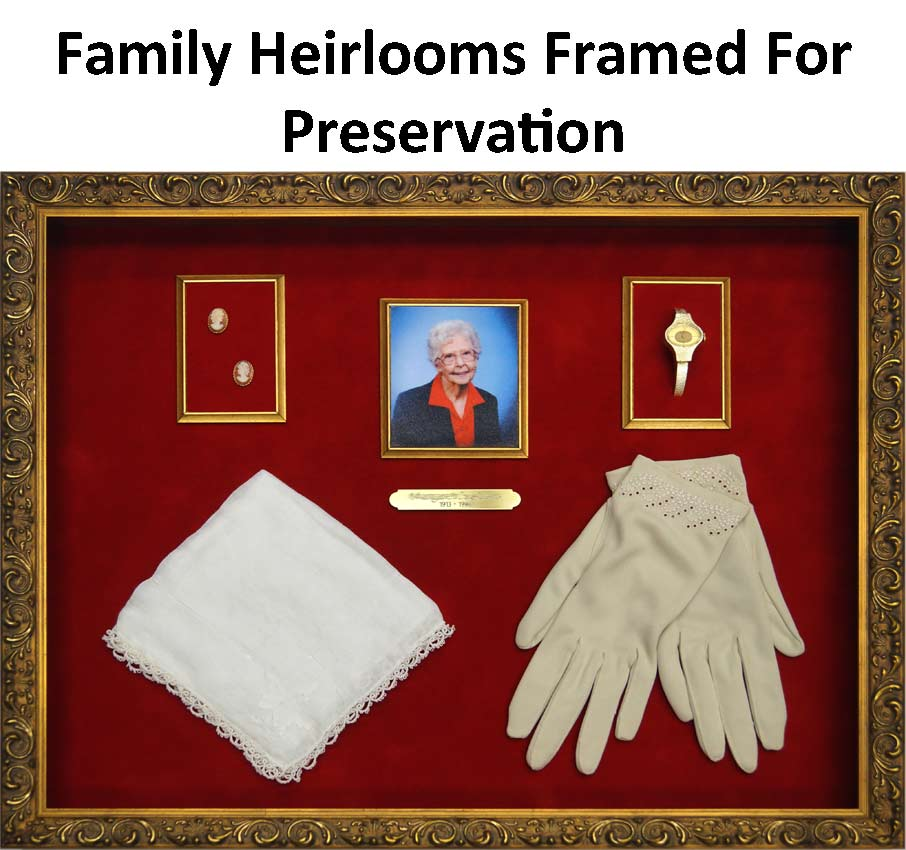 Example of Family Heirlooms Framed For Preservation