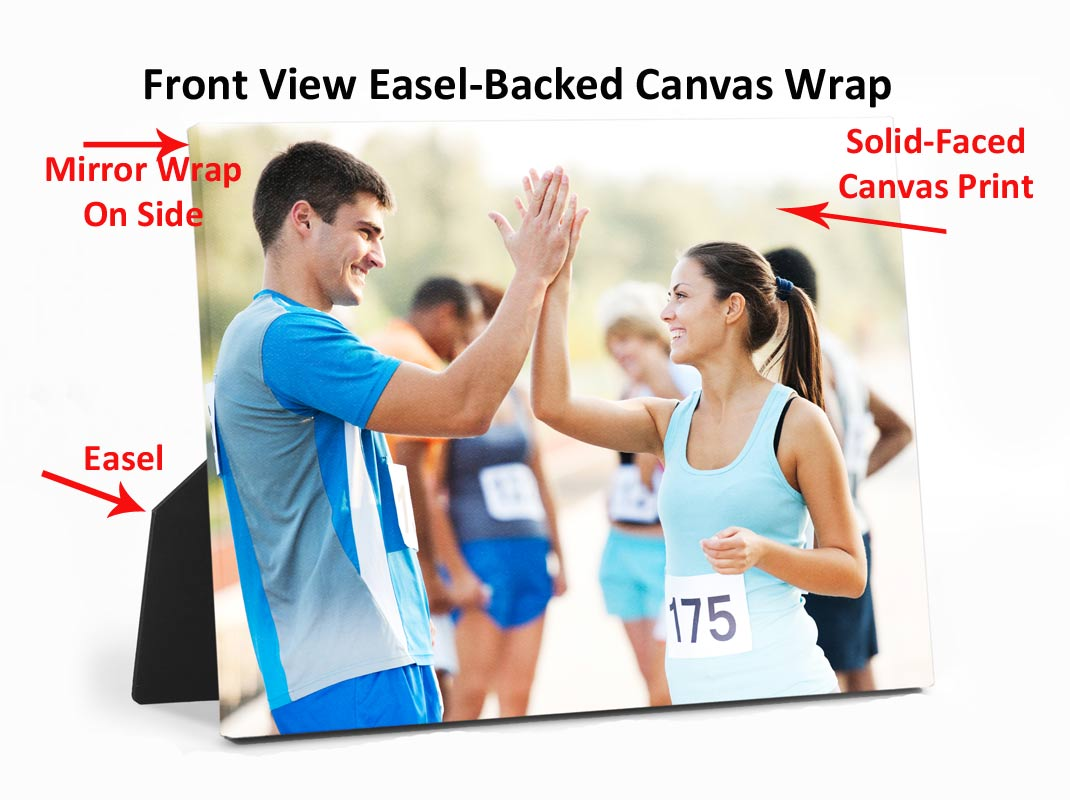 Front View of Easel Backed Canvas Wrap With Product Features