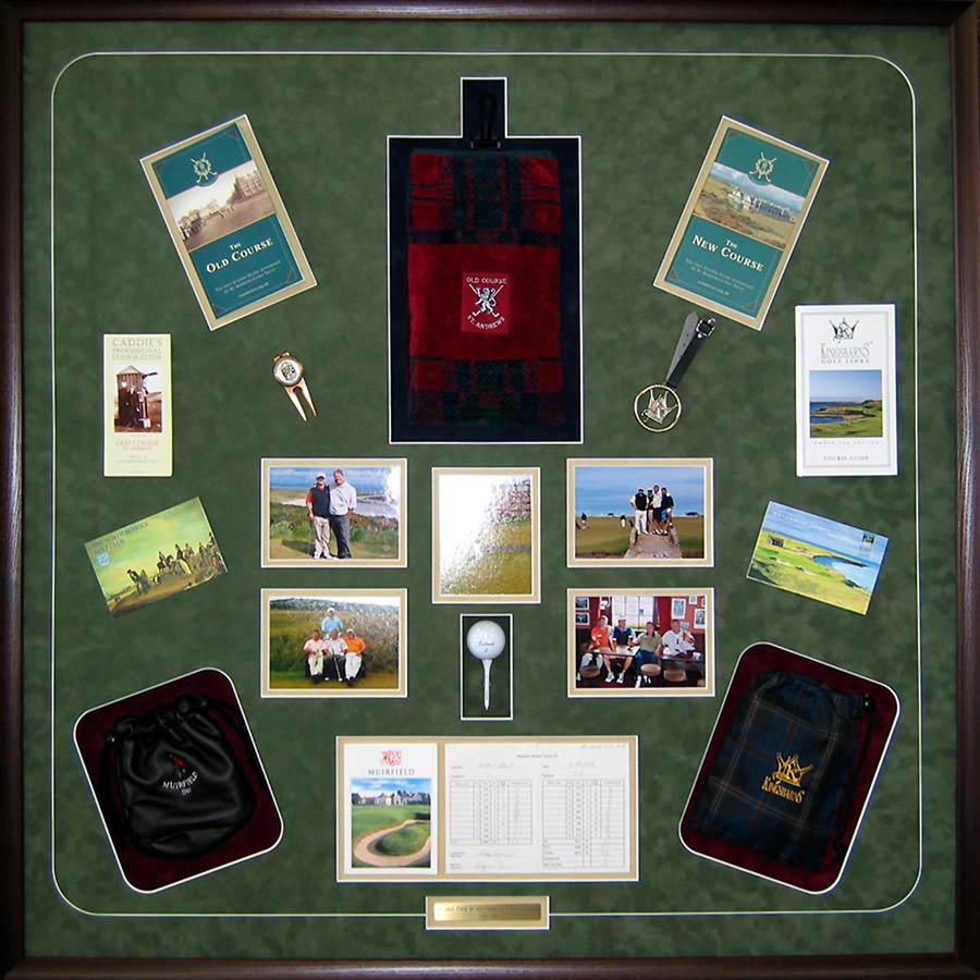 Golf Shadowbox Example of Custom Design by Cindy's Custom Framing