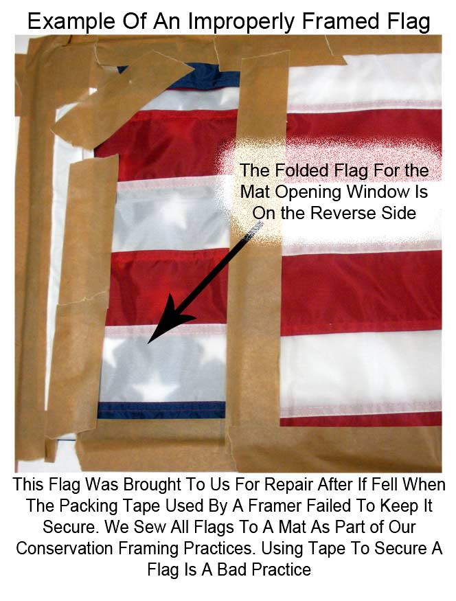 Repairing An Improperly Framed Flag Where The Framer Used Packing Tape