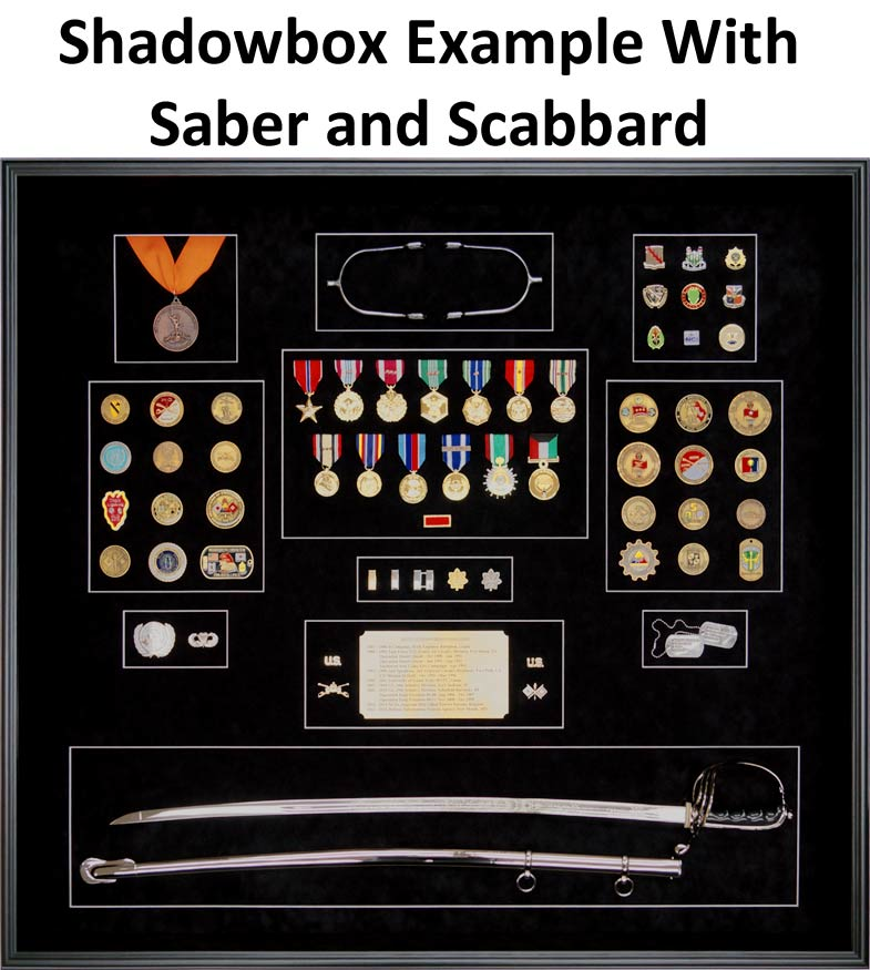 Retirement Shadowbox Example with Saber and Scabbard