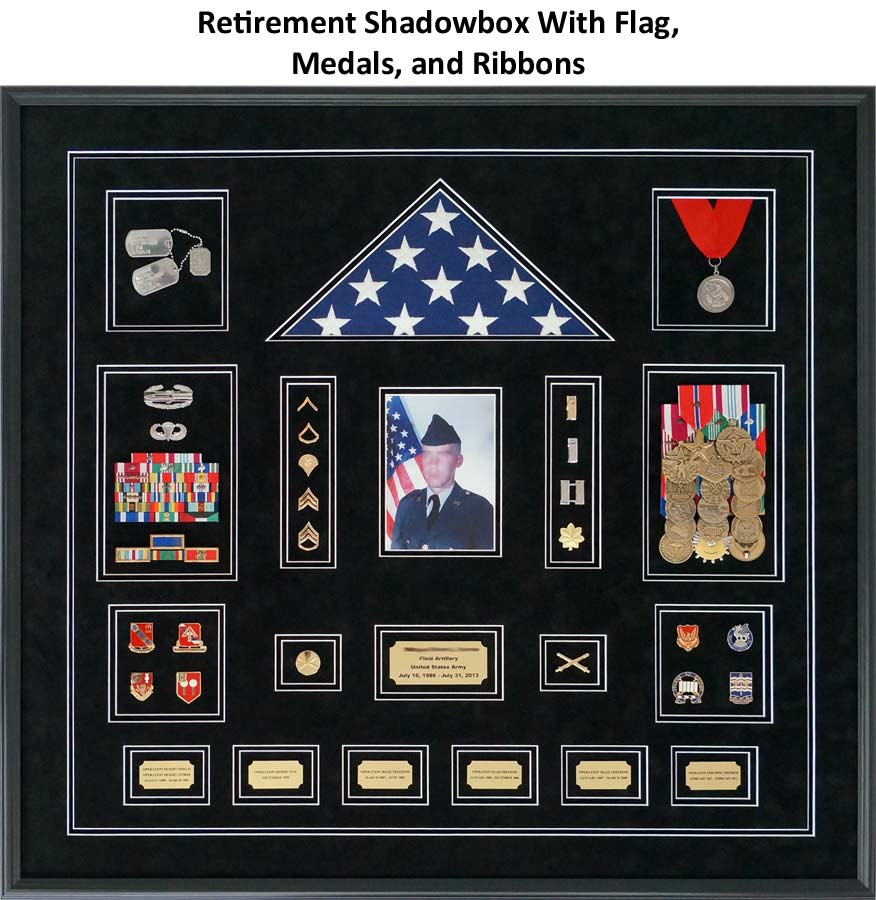 Framed Army Retirement Shadowbox with Flag, Ribbons, Insignias, and More