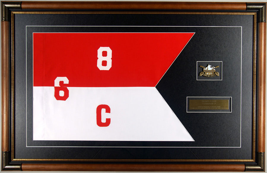 Framed Cavalry Guidon With Challenge Coin