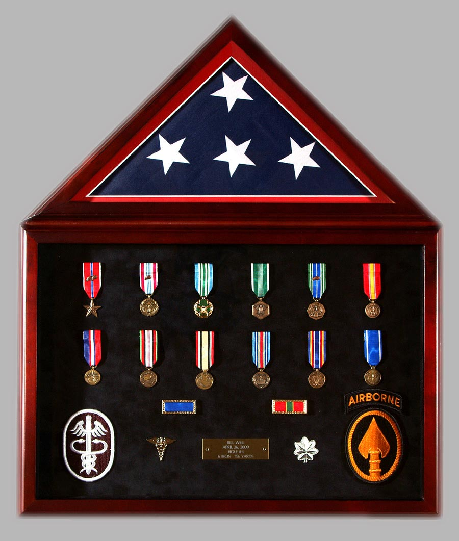 Presentation Shadowbox With Flag And Medals