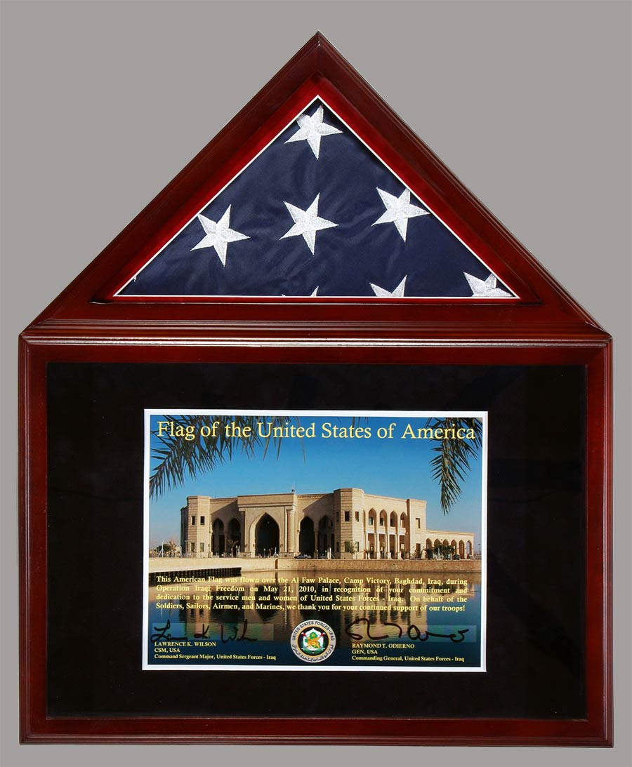 Presentation Shadowbox Flag With Certificate
