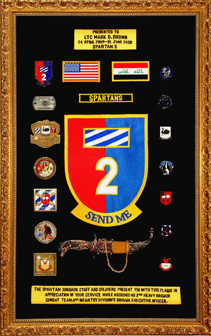 Military Shadow Box With Coins And Patches